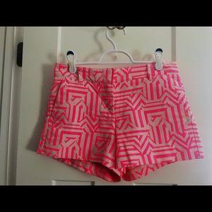 J.Crew pink + white geometric shorts